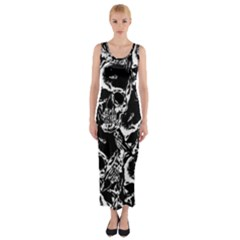 Skulls Pattern Fitted Maxi Dress by ValentinaDesign