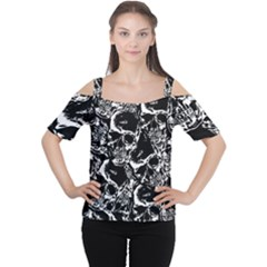 Skulls Pattern Women s Cutout Shoulder Tee by ValentinaDesign