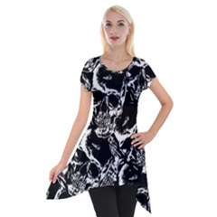 Skulls Pattern Short Sleeve Side Drop Tunic by ValentinaDesign