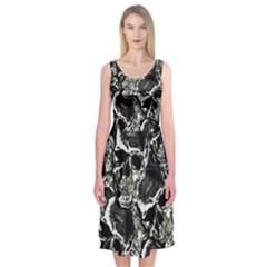 Skulls Pattern Midi Sleeveless Dress by ValentinaDesign