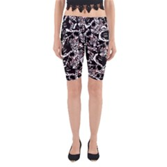 Skull Pattern Yoga Cropped Leggings by ValentinaDesign
