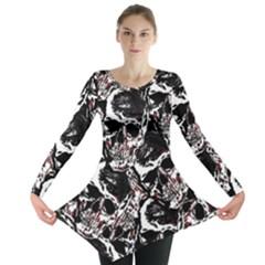 Skull Pattern Long Sleeve Tunic  by ValentinaDesign