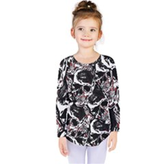 Skull Pattern Kids  Long Sleeve Tee by ValentinaDesign