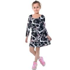 Skull Pattern Kids  Long Sleeve Velvet Dress by ValentinaDesign