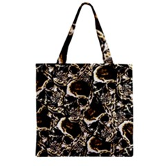 Skull Pattern Zipper Grocery Tote Bag by ValentinaDesign