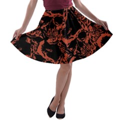 Skull Pattern A Line Skater Skirt by ValentinaDesign