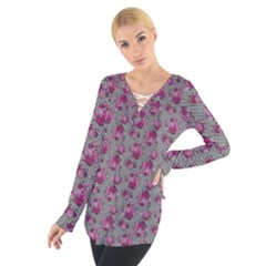 Floral Pattern Women s Tie Up Tee by ValentinaDesign