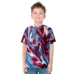 Blue Red White Marble Pattern Kids  Cotton Tee