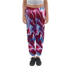 Blue Red White Marble Pattern Women s Jogger Sweatpants