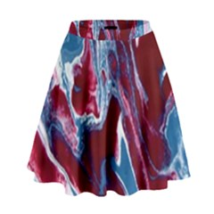 Blue Red White Marble Pattern High Waist Skirt