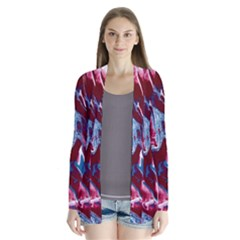 Blue Red White Marble Pattern Cardigans