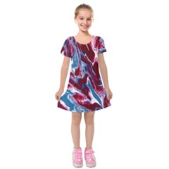 Blue Red White Marble Pattern Kids  Short Sleeve Velvet Dress