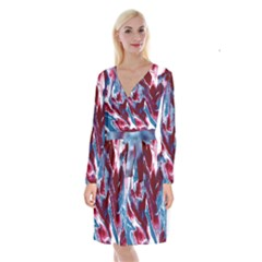 Blue Red White Marble Pattern Long Sleeve Velvet Front Wrap Dress by Costasonlineshop
