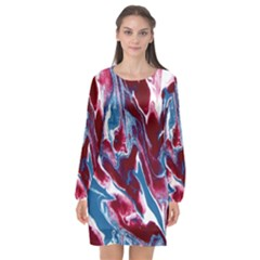 Blue Red White Marble Pattern Long Sleeve Chiffon Shift Dress