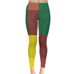 Albers Out Plaid Green Pink Yellow Red Line Leggings  by Mariart