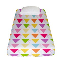 Bunting Triangle Color Rainbow Fitted Sheet (single Size) by Mariart