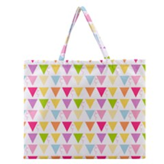 Bunting Triangle Color Rainbow Zipper Large Tote Bag by Mariart