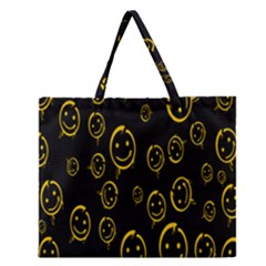 Face Smile Bored Mask Yellow Black Zipper Large Tote Bag by Mariart