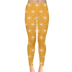 Yellow Stars Iso Line White Leggings  by Mariart