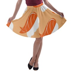 Fish Eat Japanese Sushi A Line Skater Skirt by Mariart