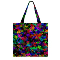 Flowersfloral Star Rainbow Zipper Grocery Tote Bag by Mariart