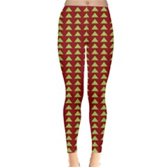 Hawthorn Sharkstooth Triangle Green Red Leggings  by Mariart
