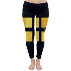 Horizontal Color Scheme Plaid Black Yellow Classic Winter Leggings by Mariart