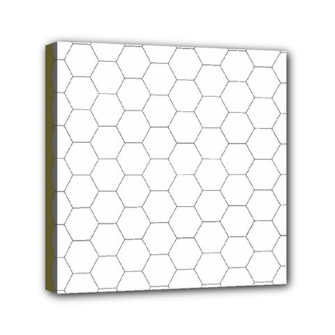 Hex Grid Plaid Green Yellow Blue Orange White Mini Canvas 6  X 6  by Mariart