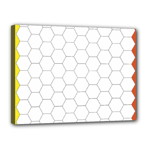 Hex Grid Plaid Green Yellow Blue Orange White Canvas 16  X 12  by Mariart