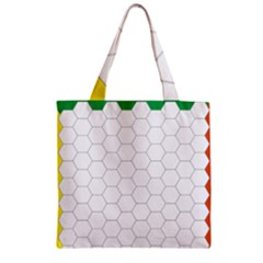 Hex Grid Plaid Green Yellow Blue Orange White Zipper Grocery Tote Bag by Mariart