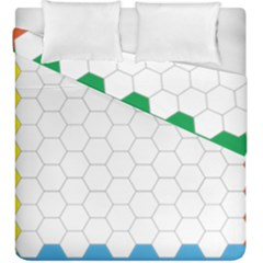 Hex Grid Plaid Green Yellow Blue Orange White Duvet Cover Double Side (king Size) by Mariart