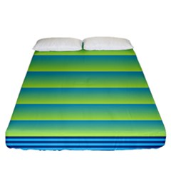 Line Horizontal Green Blue Yellow Light Wave Chevron Fitted Sheet (california King Size) by Mariart