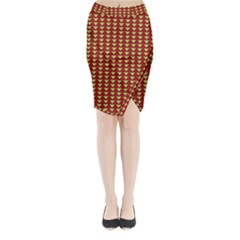 Hawthorn Sharkstooth Triangle Green Red Full Midi Wrap Pencil Skirt