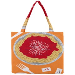 Instant Noodles Mie Sauce Tomato Red Orange Knife Fox Food Pasta Mini Tote Bag by Mariart