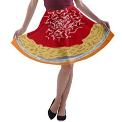 Instant Noodles Mie Sauce Tomato Red Orange Knife Fox Food Pasta A Line Skater Skirt by Mariart