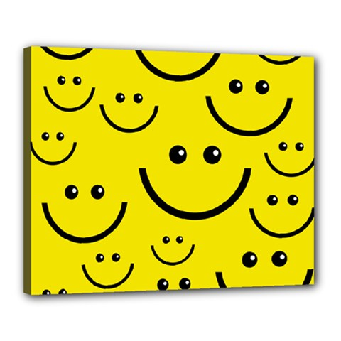 Linus Smileys Face Cute Yellow Canvas 20  X 16  by Mariart
