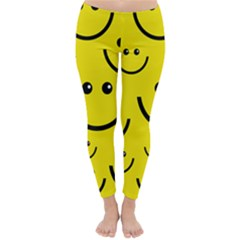 Linus Smileys Face Cute Yellow Classic Winter Leggings by Mariart
