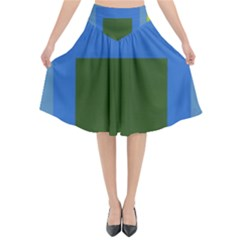 Plaid Green Blue Yellow Flared Midi Skirt