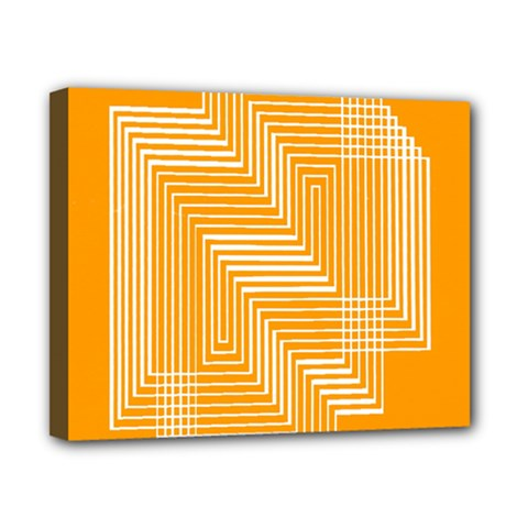 Orange Line Plaid Canvas 10  X 8  by Mariart