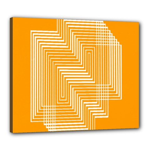 Orange Line Plaid Canvas 24  X 20  by Mariart
