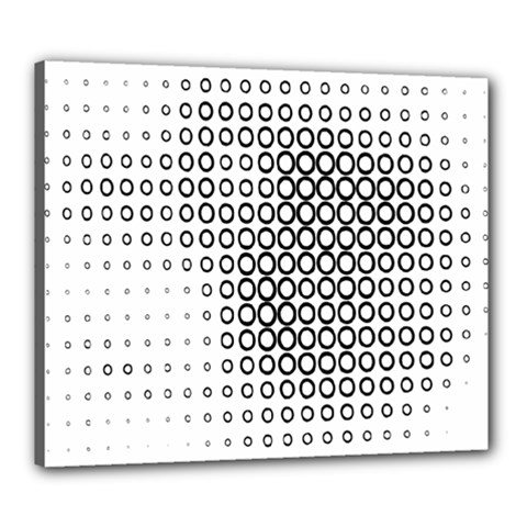 Polka Circle Round Black White Hole Canvas 24  X 20  by Mariart