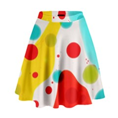 Polkadot Color Rainbow Red Blue Yellow Green High Waist Skirt by Mariart