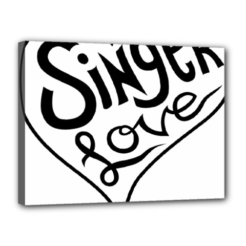Singer Love Sign Heart Canvas 16  X 12  by Mariart