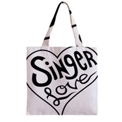 Singer Love Sign Heart Zipper Grocery Tote Bag by Mariart