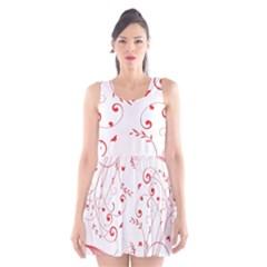 Floral Design Scoop Neck Skater Dress