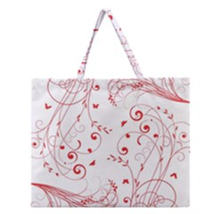 Floral Design Zipper Large Tote Bag