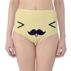 Mustache High Waist Bikini Bottoms