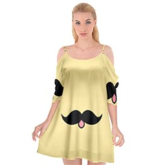 Mustache Cutout Spaghetti Strap Chiffon Dress by Nexatart