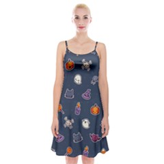 Kawaiieen Pattern Spaghetti Strap Velvet Dress