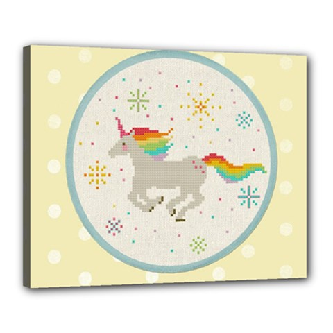 Unicorn Pattern Canvas 20  X 16  by Nexatart